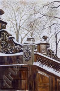 Bethesda Steps In Snow